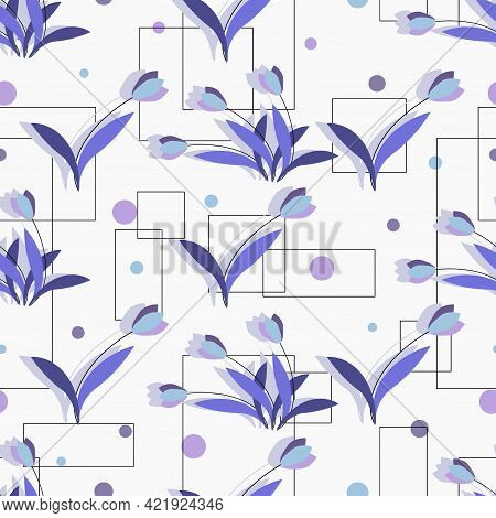 Tulips. Floral Motif. Vector Background In Cold Colors. Design For Textiles. Seamless Pattern.