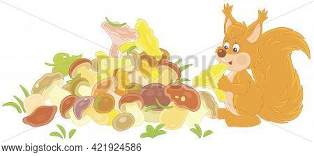Little Red Squirrel Mushroomer With A Big Pile Of Picked Mushrooms On A Summer Forest Glade, Vector