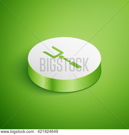 Isometric Barbecue Fork Icon Isolated On Green Background. Bbq Fork Sign. Barbecue And Grill Tool. W
