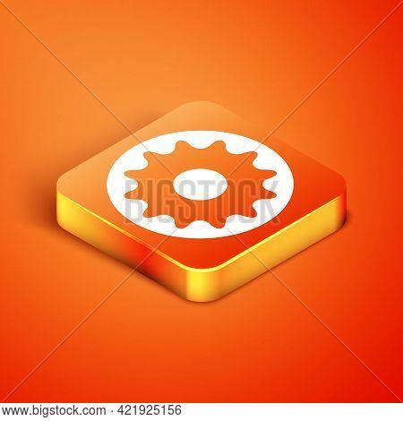 Isometric Chakra Icon Isolated On Orange Background. Vector
