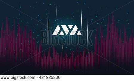 Avalanche Avax Token Symbol Of The Defi Project On Dark Polygonal Background With Wave Of Lines. Cry