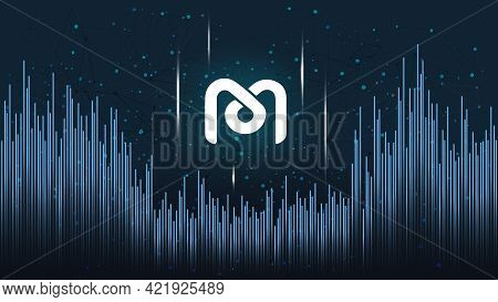 Mdex Mdx Token Symbol Of The Defi Project On Dark Polygonal Background With Wave Of Lines. Cryptocur