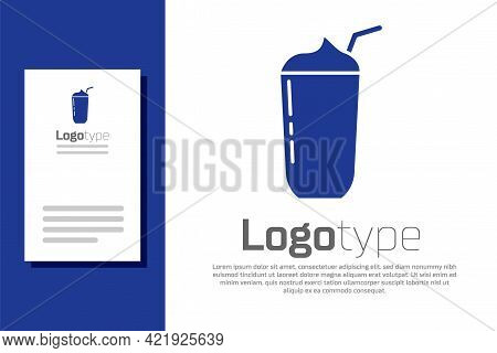 Blue Milkshake Icon Isolated On White Background. Plastic Cup With Lid And Straw. Logo Design Templa