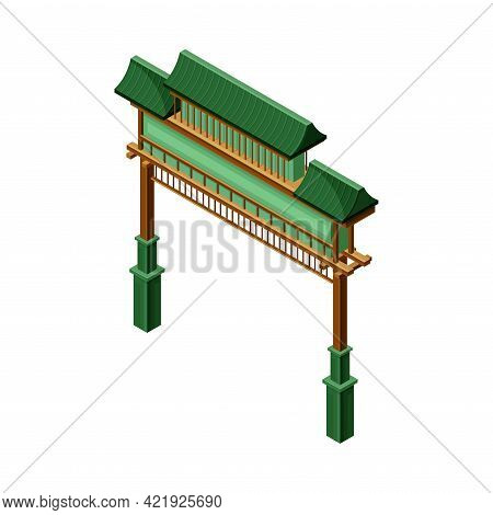 Green Gate As Symbolic Entrance At Shinto Shrine And Asian Architecture Isometric Vector Illustratio