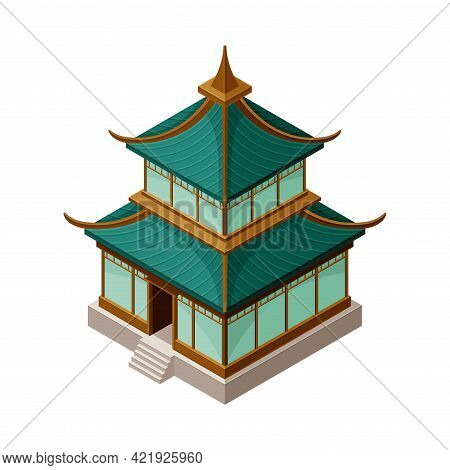 Pagoda As Tiered Tower With Multiple Eaves As Asian Architecture Isometric Vector Illustration