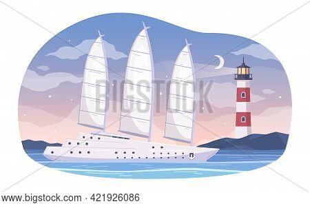 Yachting Cartoon Composition With Evening Landscape And Yacht Sailing Through Water With View Of Sea