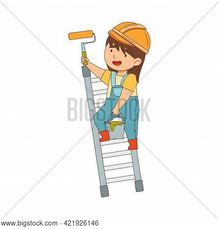Little Girl Builder Wearing Hard Hat And Overall Standing On Ladder And Painting Wall With Roller Ve