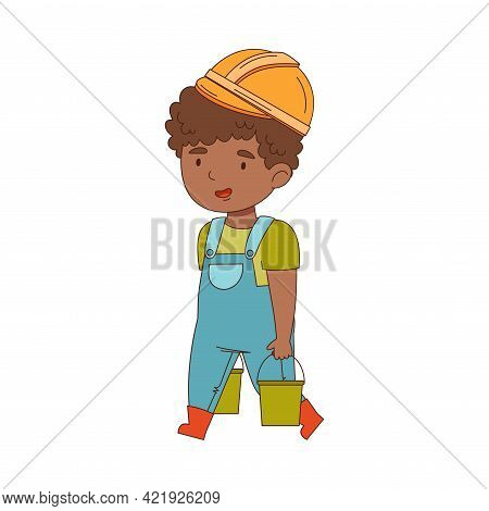 Little Boy Builder Wearing Hard Hat And Overall Carrying Heavy Buckets Vector Illustration