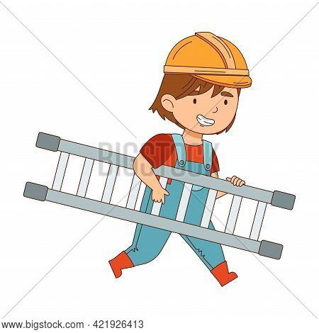 Little Girl Builder Wearing Hard Hat And Overall Carrying Ladder Vector Illustration