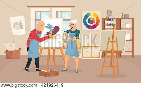 Elderly People Artist Composition With Indoor Scenery Of Painting Studio With Drawing Easel And Dood