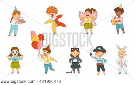 Cheerful Children In Masquerade Costumes And With Face Painting Engaged In Festive Celebration Vecto