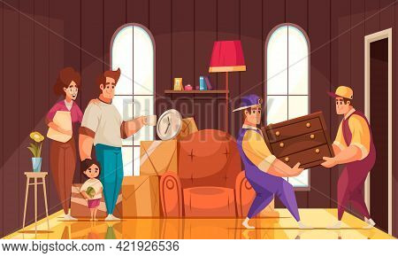 New House Room Interior Cartoon Composition With Family Watching Moving Company Packers Carrying Fur