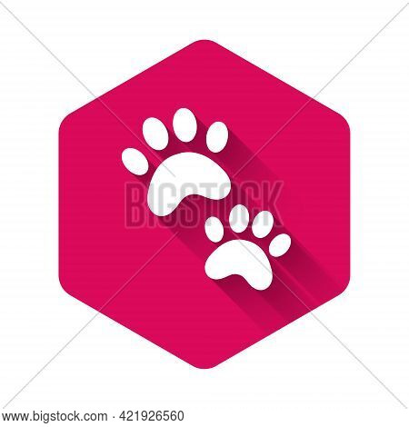 White Paw Print Icon Isolated With Long Shadow. Dog Or Cat Paw Print. Animal Track. Pink Hexagon But