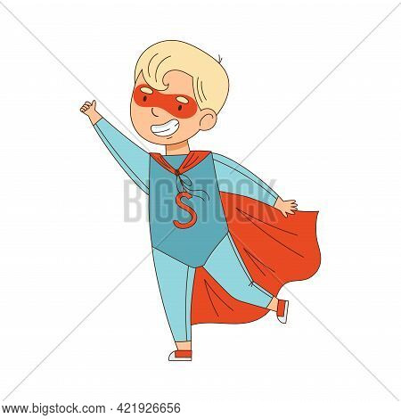 Cheerful Boy In Masquerade Costume Of Superhero And With Face Painting Engaged In Festive Celebratio
