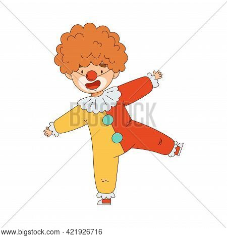 Cheerful Boy In Masquerade Costume Of Clown And With Face Painting Engaged In Festive Celebration Ve