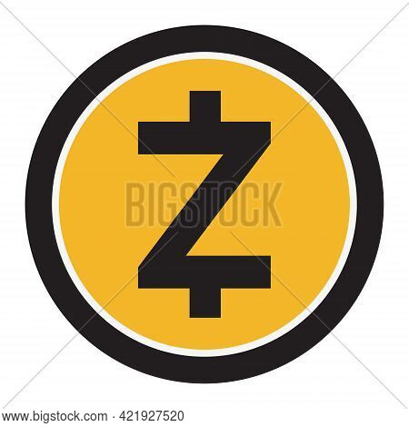 Zcash Zec Token Symbol Of The Defi Project Cryptocurrency Logo, Decentralized Finance Coin Icon Isol