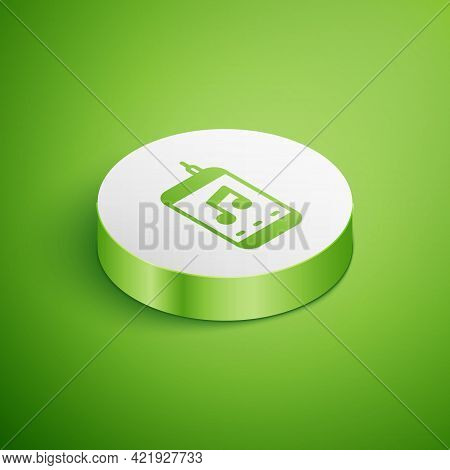Isometric Music Player Icon Isolated On Green Background. Portable Music Device. White Circle Button