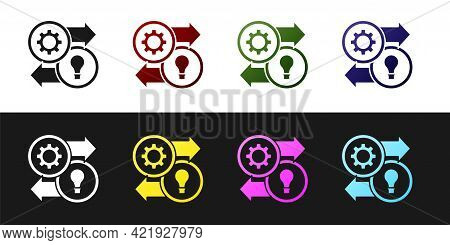 Set Human Resources Icon Isolated On Black And White Background. Concept Of Human Resources Manageme