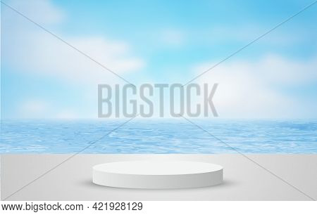 White 3d Podium For Pedestal Product Display, Summer Beach With Blue Sea And Sky Banner Background.