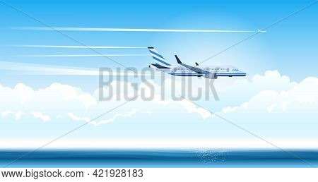 An Air Plane Flying In The Clouds Leaves A Trace In The Sky Flat Vector Illustration