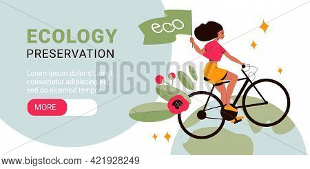 Flat Ecology Preservation Horizontal Banner With Woman Riding Bike With Flowers And Green Flag Vecto