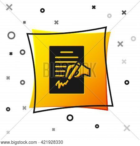Black Petition Icon Isolated On White Background. Yellow Square Button. Vector