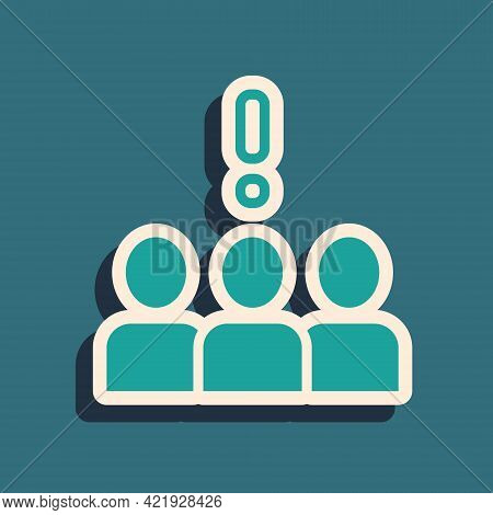 Green Crowd Protest Icon Isolated On Green Background. Demonstration. Long Shadow Style. Vector
