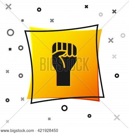 Black Raised Hand With Clenched Fist Icon Isolated On White Background. Protester Raised Fist At A P