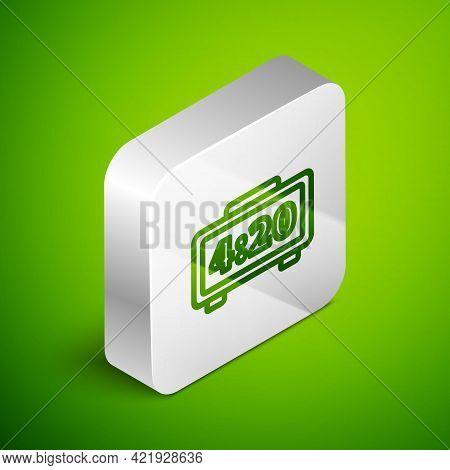Isometric Line Digital Alarm Clock Icon Isolated On Green Background. Electronic Watch Alarm Clock.