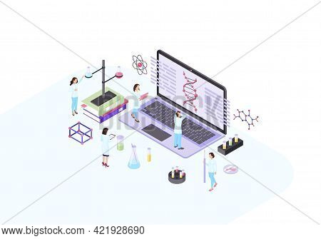 Scientists, Geneticist, Academics, Biologists, Research Workers Isometric Color Vector Illustration.
