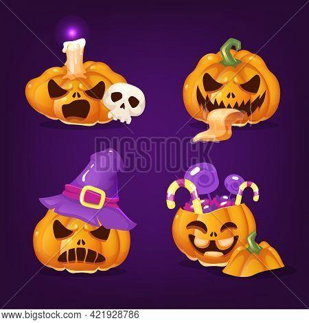 Spooky Halloween Pumpkins Cartoon Vector Illustrations Set. Creepy Carved Squash With Evil Smiles, S