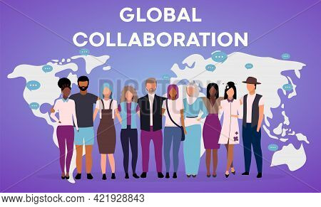 Global Collaboration Poster Vector Template. International Cooperation Brochure, Cover, Booklet Page