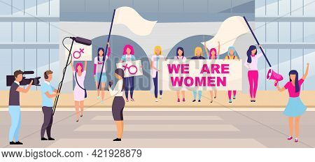 Feminist Protest Action Flat Vector Illustration. Women Rights Protection Movement, Demonstration. G