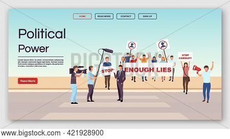 Political Power Landing Page Template. Democracy Manifestation Website Interface Idea With Flat Illu