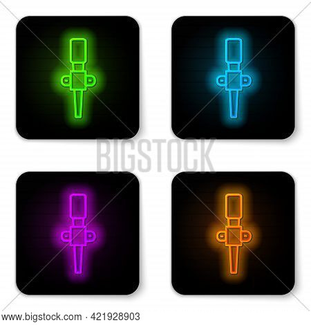 Glowing Neon Line Torch Flame Icon Isolated On White Background. Symbol Fire Hot, Flame Power, Flami