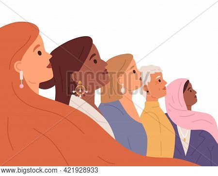Profile Of Diverse Women Faces. Feminists Of Different Ages And Races. Diversity And Equality Of Wom