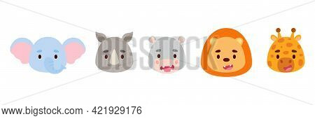 Cute Little African Animals Heads Set. Collection Funny Animals Characters For Kids Cards, Baby Show