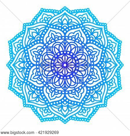 Vector Mandala In Doodle Style. Zentangle. Paper Cut Template. Abstract Lace Floral Element For Card