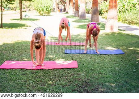 Beautiful Young Girls Working Out, Exercising Outdoor