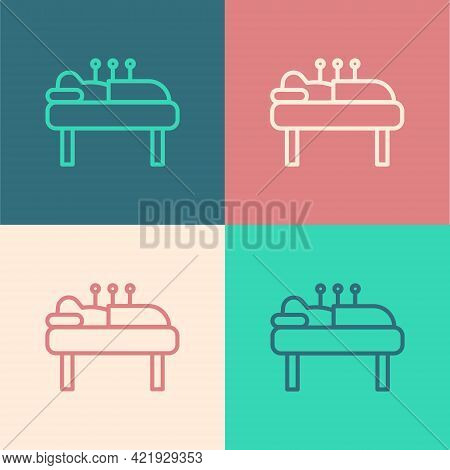 Pop Art Line Acupuncture Therapy Icon Isolated On Color Background. Chinese Medicine. Holistic Pain