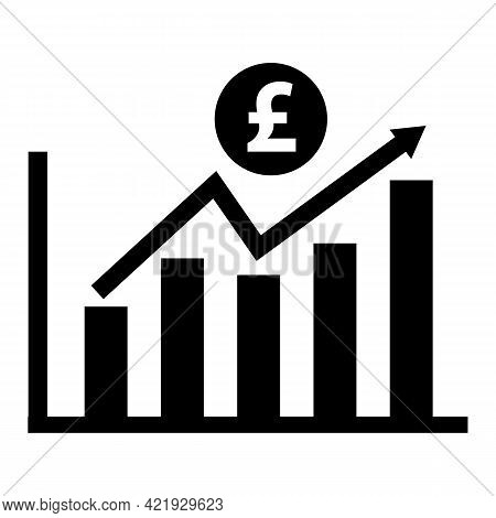 Increase Pound Currency Chart Icon On White Background. Sales Symbol. Chart Increasing Revenue Sign.