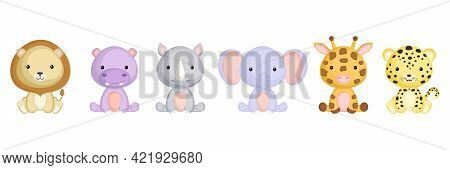 Collection Of Sitting Little Animals In Cartoon Style. Cute African Animals Characters For Kids Card