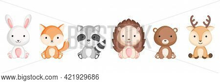 Collection Of Sitting Little Animals In Cartoon Style. Cute Woodland Animals Characters For Kids Car