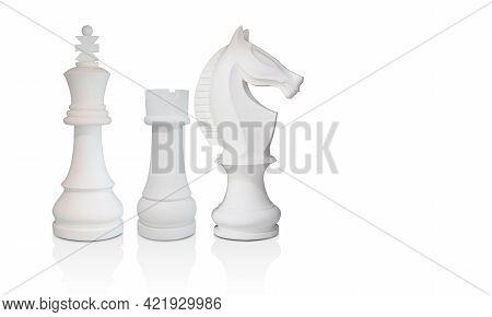 Three White Chess, White King, White Rook, White Horse On White Background, Object, Decoration, Copy