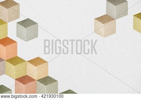 Earth tone paper craft textured cubic patterned template