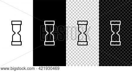Set Line Old Hourglass With Flowing Sand Icon Isolated On Black And White Background. Sand Clock Sig