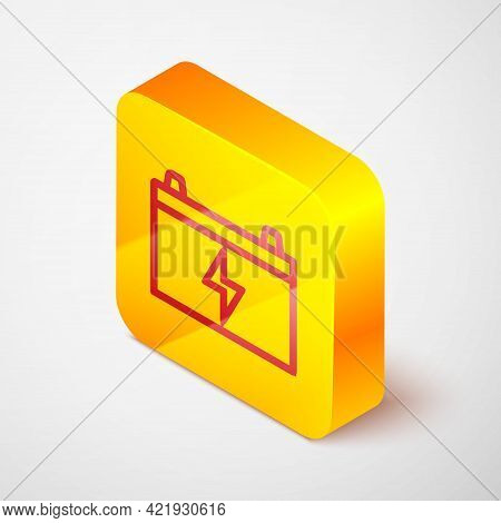 Isometric Line Car Battery Icon Isolated On Grey Background. Accumulator Battery Energy Power And El
