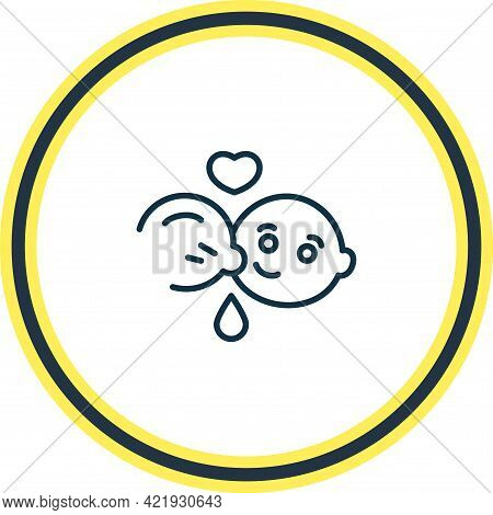 Vector Illustration Of Breast Feeding Icon Line. Beautiful Baby Element Also Can Be Used As Lactatio