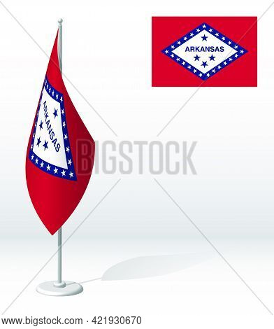 Flag Of American State Of Arkansas On Flagpole For Registration Of Solemn Event, Meeting Foreign Gue