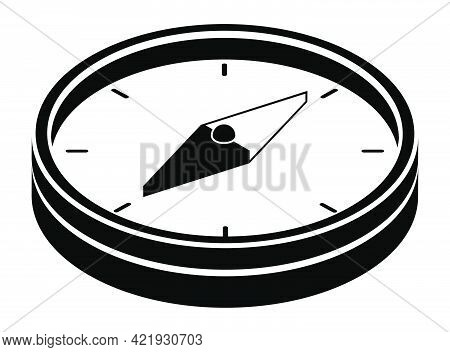 Sketchy Compass With Arrow And Scale. Travel, Device For Determining Location And Direction Of Touri